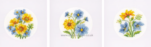 Blue And Yellow Flowers Greetings Cards Cross Stitch Kit